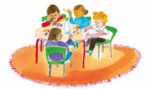 Illustration of children doing experiments at a table